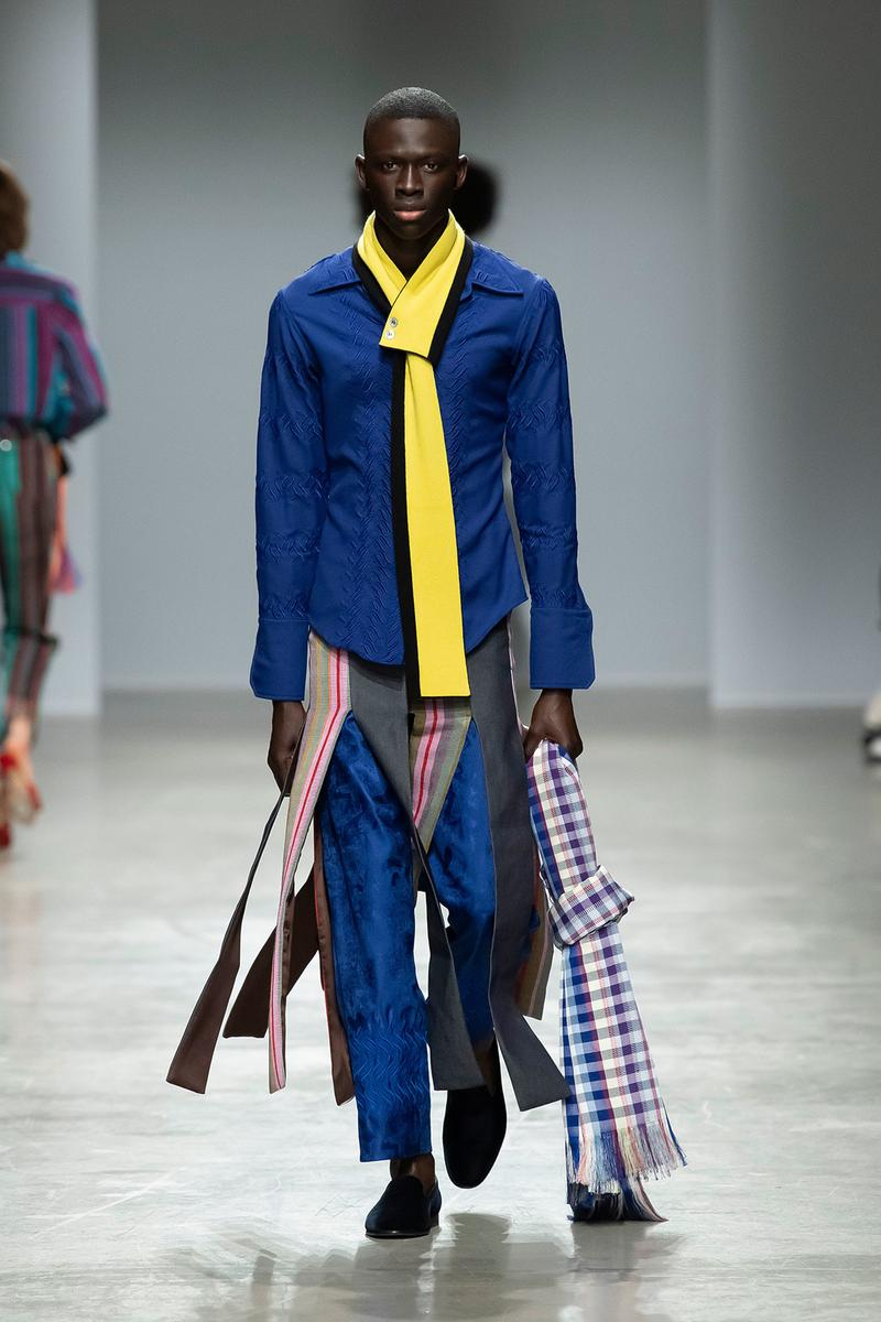 Kenneth Ize Fall/Winter 2020 Collection Runway Show Shirt Blue Tie Yellow