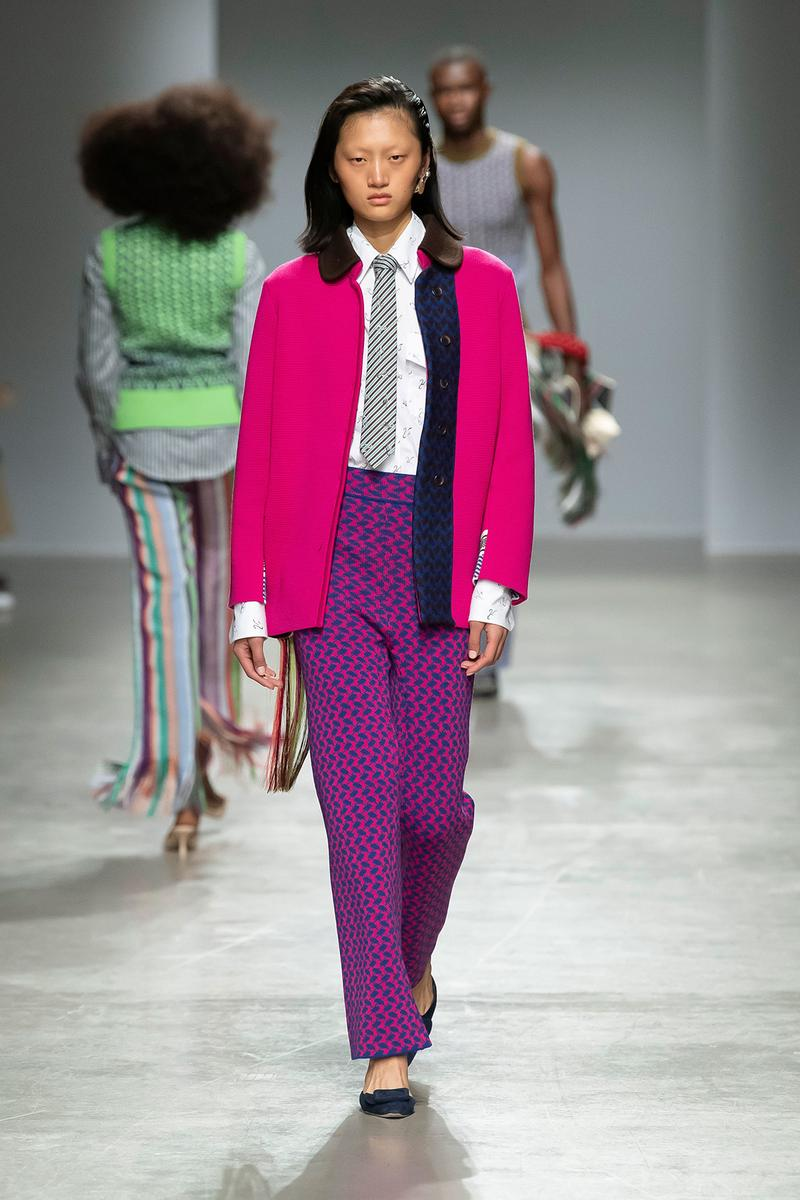 Kenneth Ize Fall/Winter 2020 Collection Runway Show Jacket Pink Pants Stripe Pink