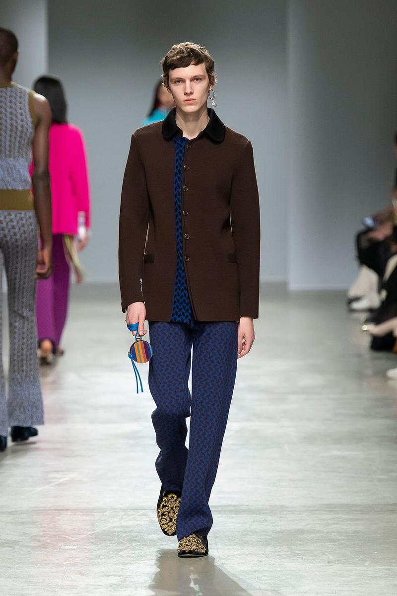 Kenneth Ize Fall/Winter 2020 Collection Runway Show Jacket Brown Pants Blue