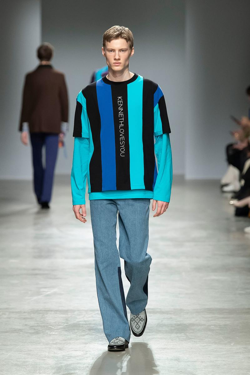 Kenneth Ize Fall/Winter 2020 Collection Runway Show Pullover Stripe Blue