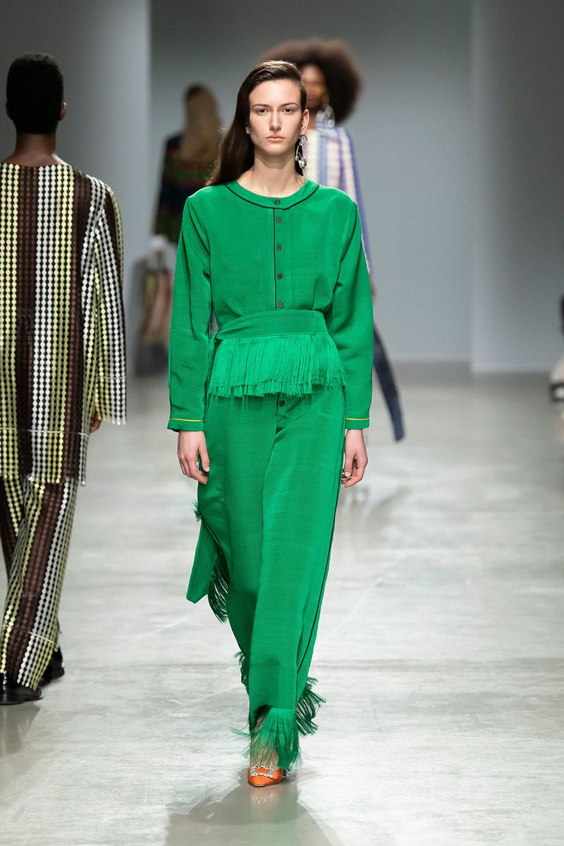 Kenneth Ize Fall/Winter 2020 Collection Runway Show Sweater Skirt Green