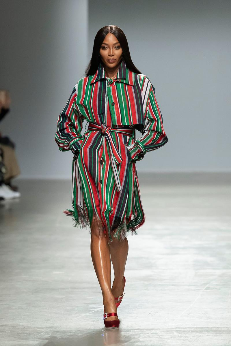 Kenneth Ize Fall/Winter 2020 Collection Runway Show Shirt Dress Stripe