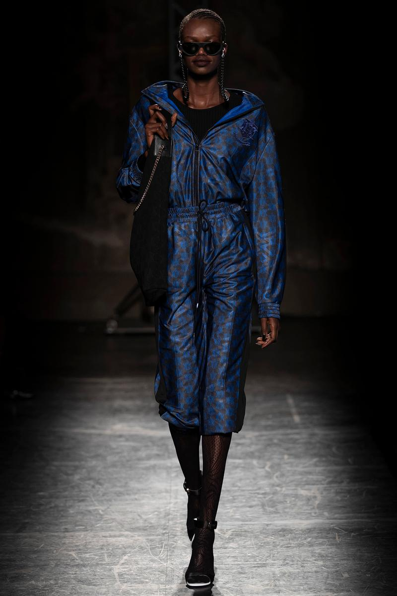 KOCHÉ x Emilio Pucci Fall/Winter 2020 Collection Runway Show Tracksuit Blue Black
