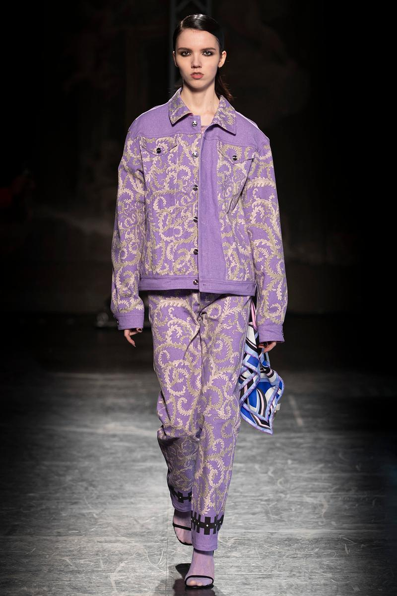 KOCHÉ x Emilio Pucci Fall/Winter 2020 Collection Runway Show Jacket Pants Purple Print