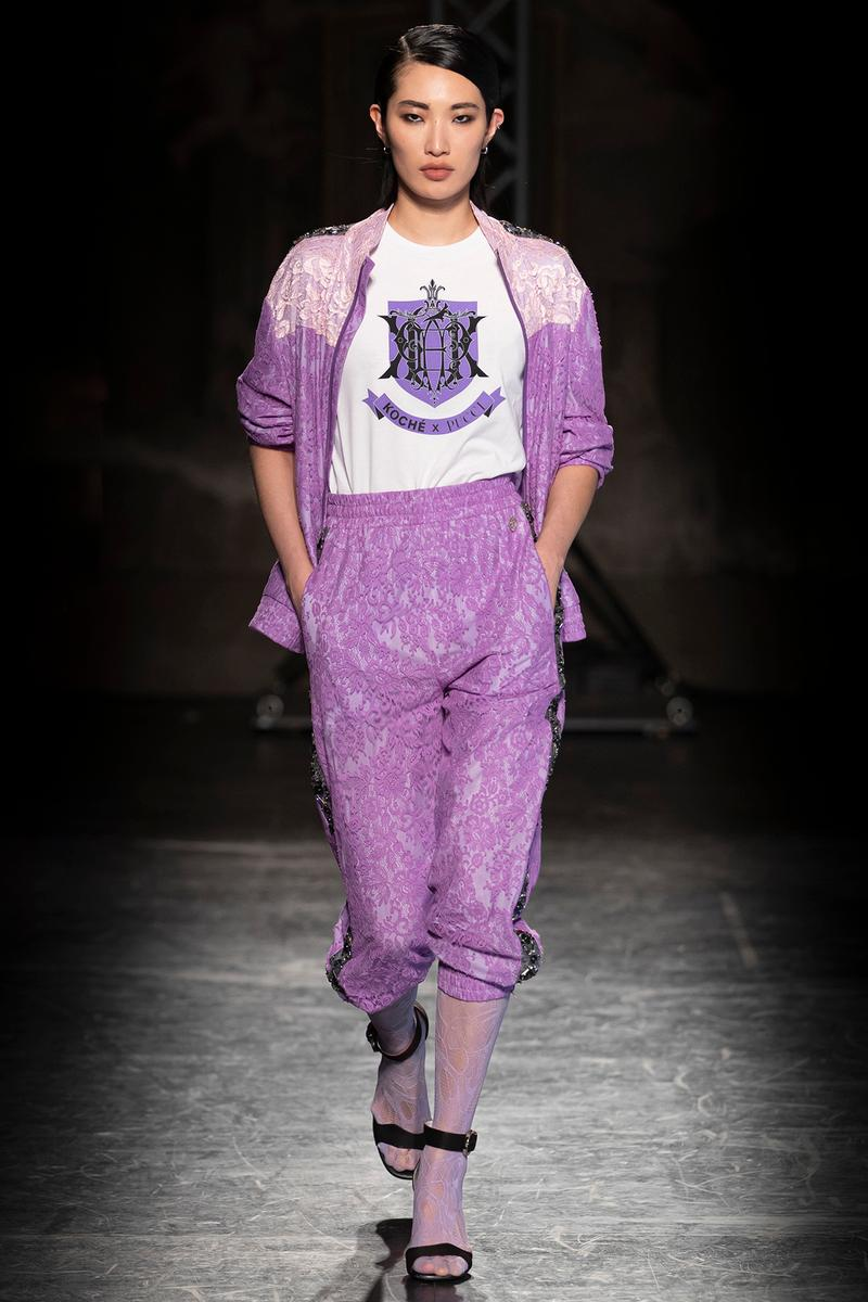 KOCHÉ x Emilio Pucci Fall/Winter 2020 Collection Runway Show Logo T-Shirt Tracksuit Purple