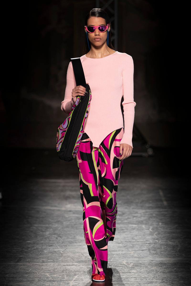 KOCHÉ x Emilio Pucci Fall/Winter 2020 Collection Runway Show Bodysuit Pants Pink