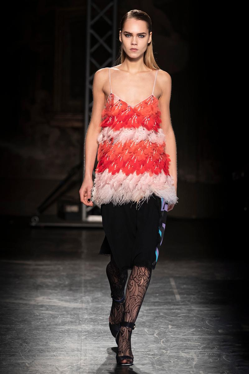 KOCHÉ x Emilio Pucci Fall/Winter 2020 Collection Runway Show Lace Top Red