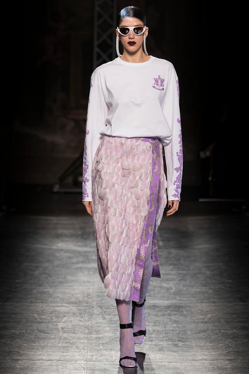 KOCHÉ x Emilio Pucci Fall/Winter 2020 Collection Runway Show Lace Skirt Purple