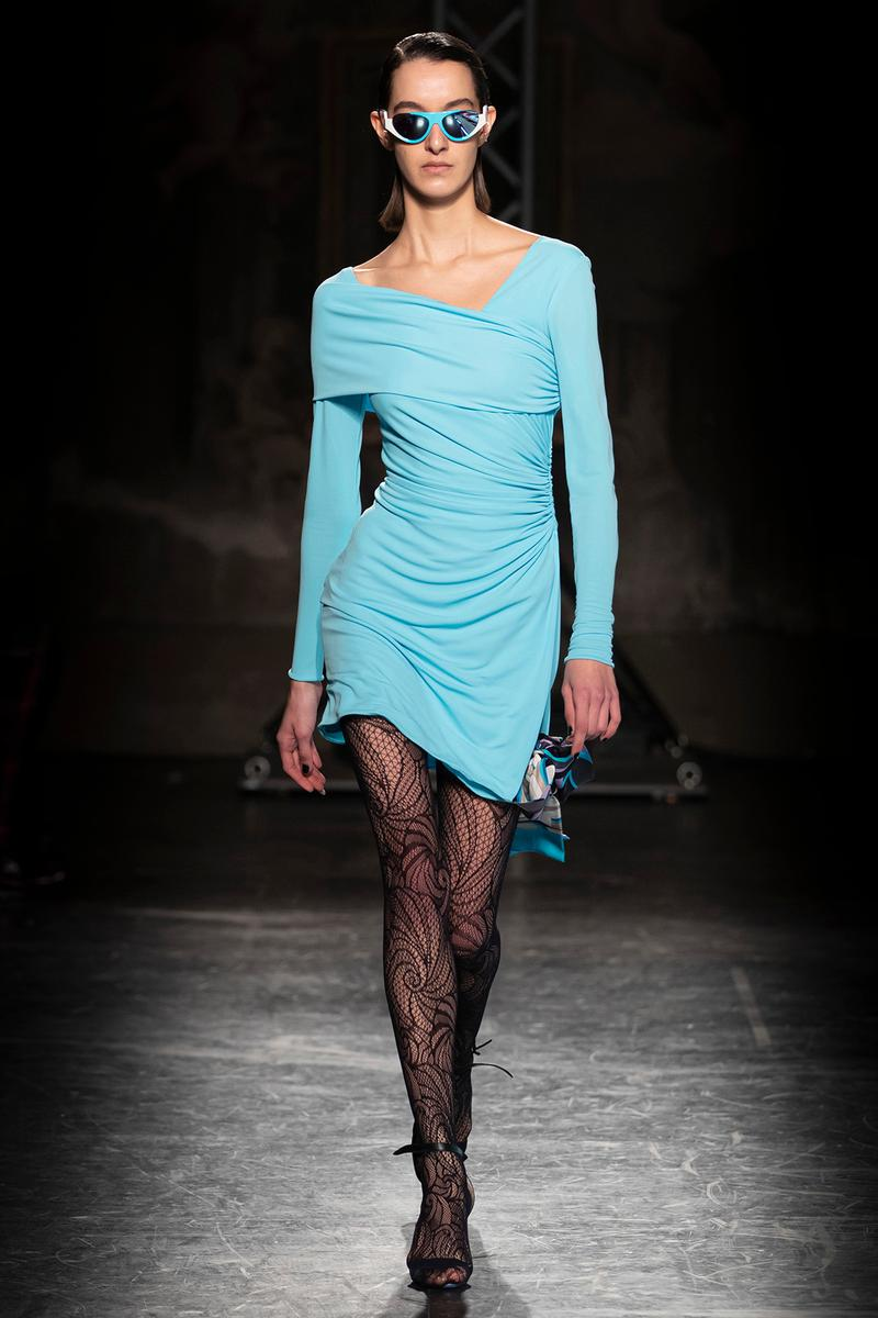 KOCHÉ x Emilio Pucci Fall/Winter 2020 Collection Runway Show Ruched Dress Blue