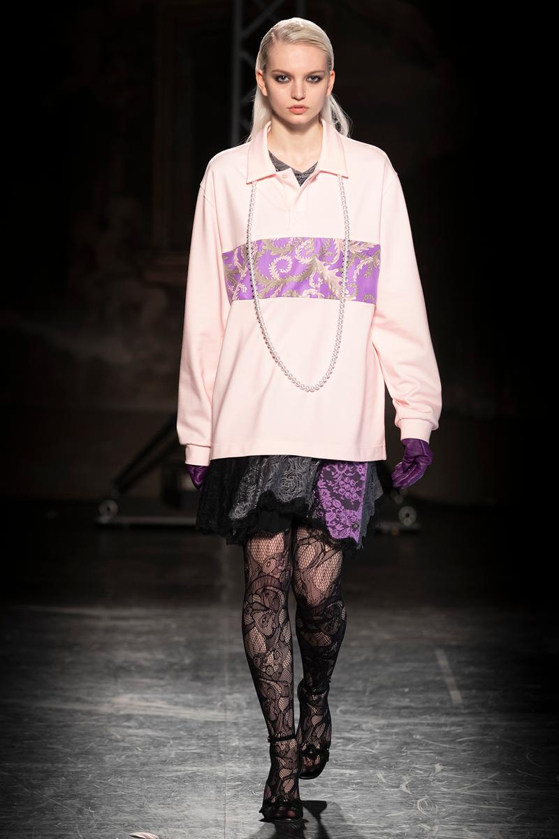 KOCHÉ x Emilio Pucci Fall/Winter 2020 Collection Runway Show Rugby Shirt Pink