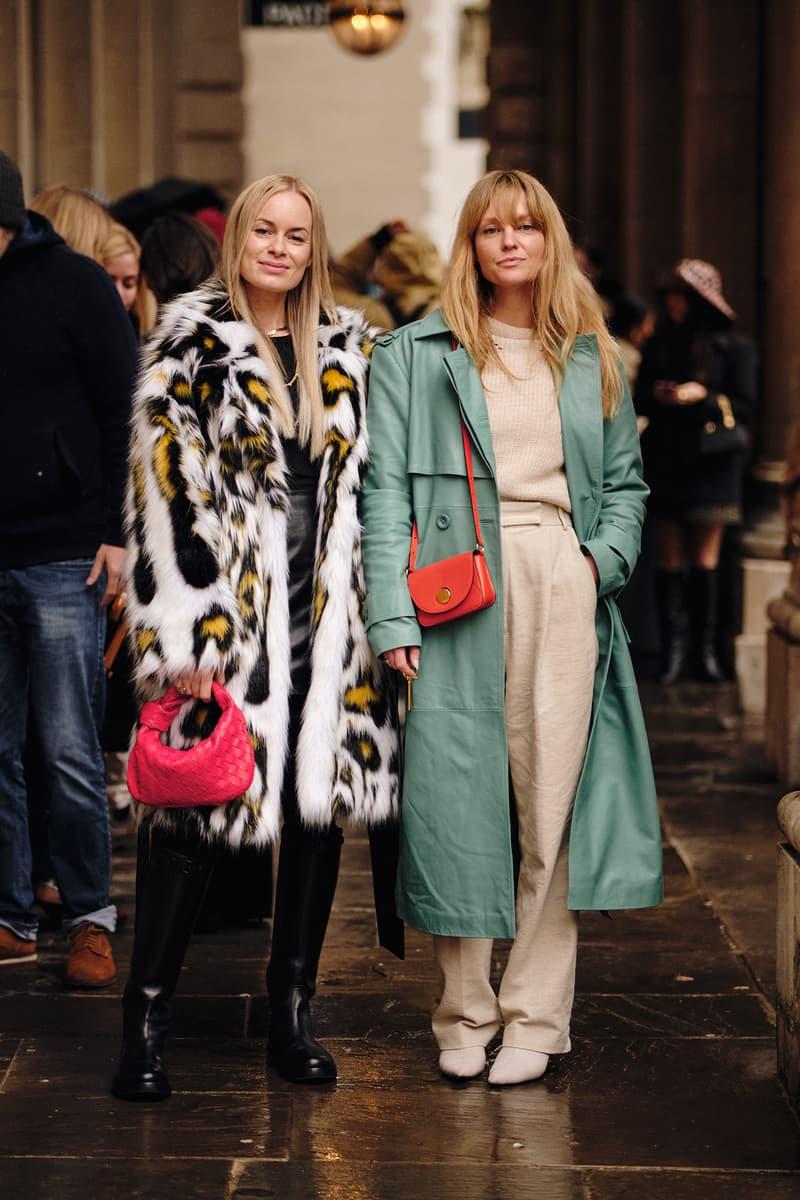 Jeanette Madsen Thora Valdimars Danish Street Style London Fashion Week Fall Winter 2020 Faux Fur Coat Green Trench Bottega Veneta Pink BV Jodie Bag
