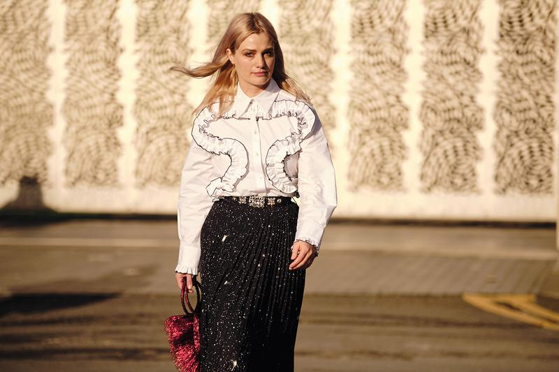 Street Style London Fashion Week Fall Winter 2020 white ruffle shirt