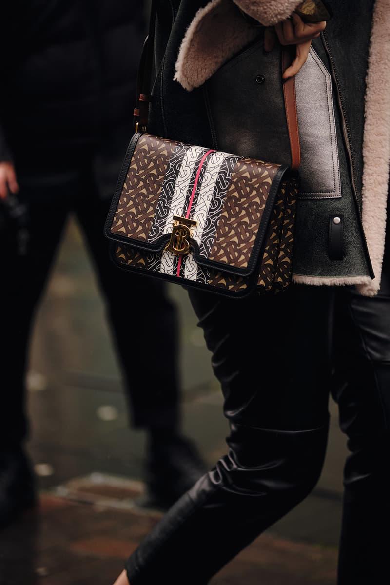 Street Style London Fashion Week Fall Winter 2020 Burberry TB logo bag