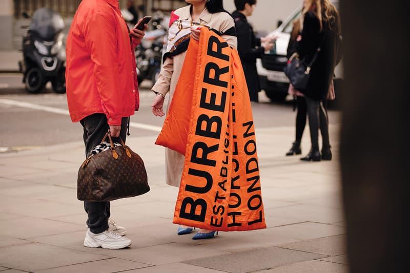 Street Style London Fashion Week Fall Winter 2020 Burberry orange scarf Louis Vuitton Bag