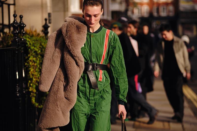 Street Style London Fashion Week Fall Winter 2020 faux fur coat