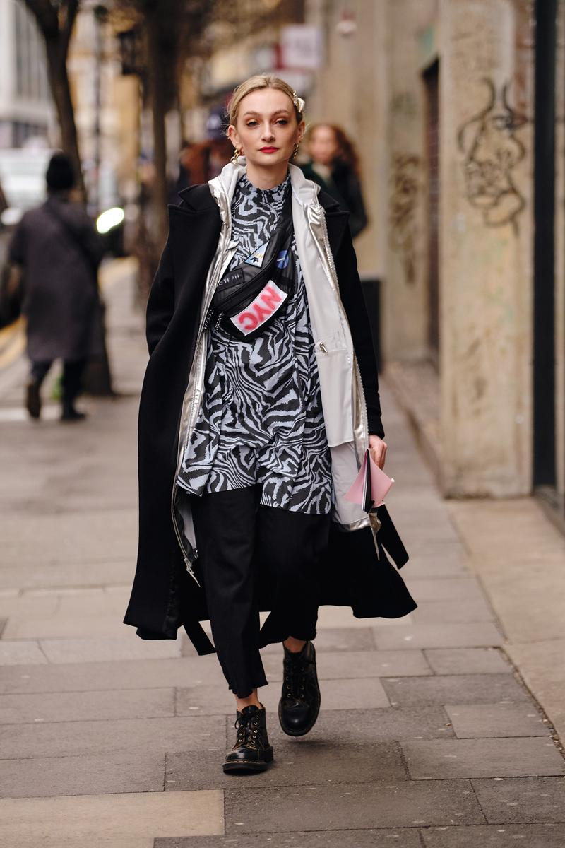 Street Style London Fashion Week Fall Winter 2020 faux fur bag zebra print