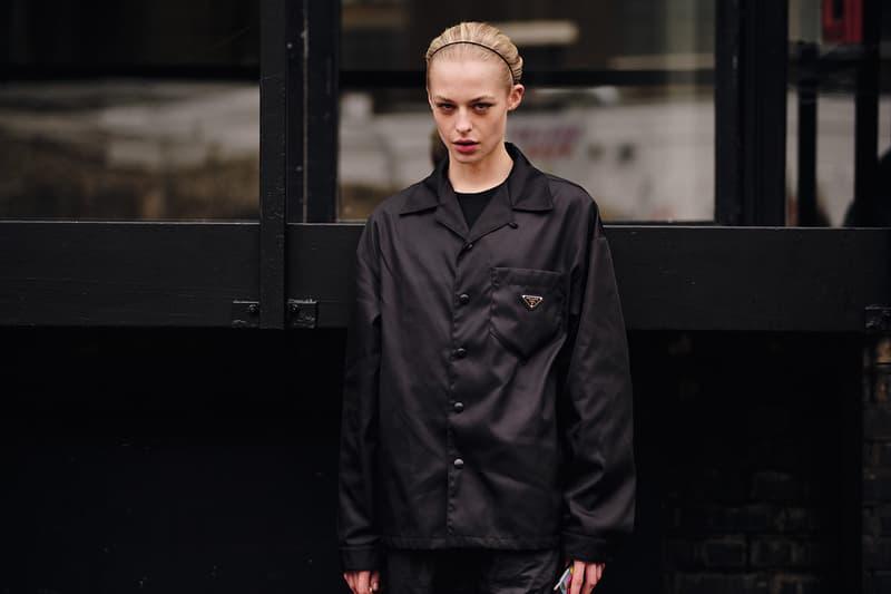 Street Style London Fashion Week Fall Winter 2020 prada jacket nylon black
