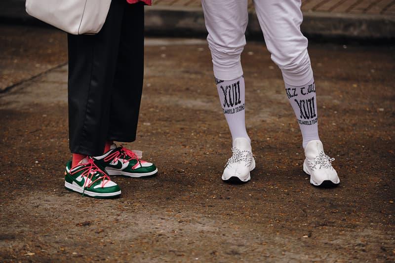 Street Style London Fashion Week Fall Winter 2020 nike off white dunk low sneaker
