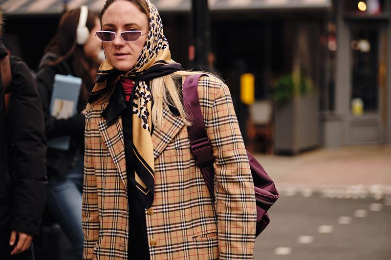 Street Style London Fashion Week Fall Winter 2020 headscarf burberry nova check