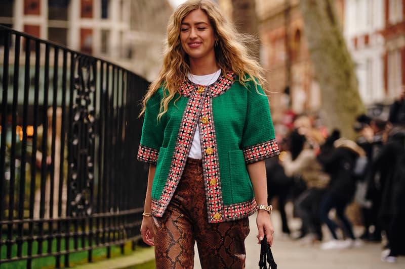 Emili Sindlev Danish Street Style London Fashion Week Fall Winter 2020 green jacket