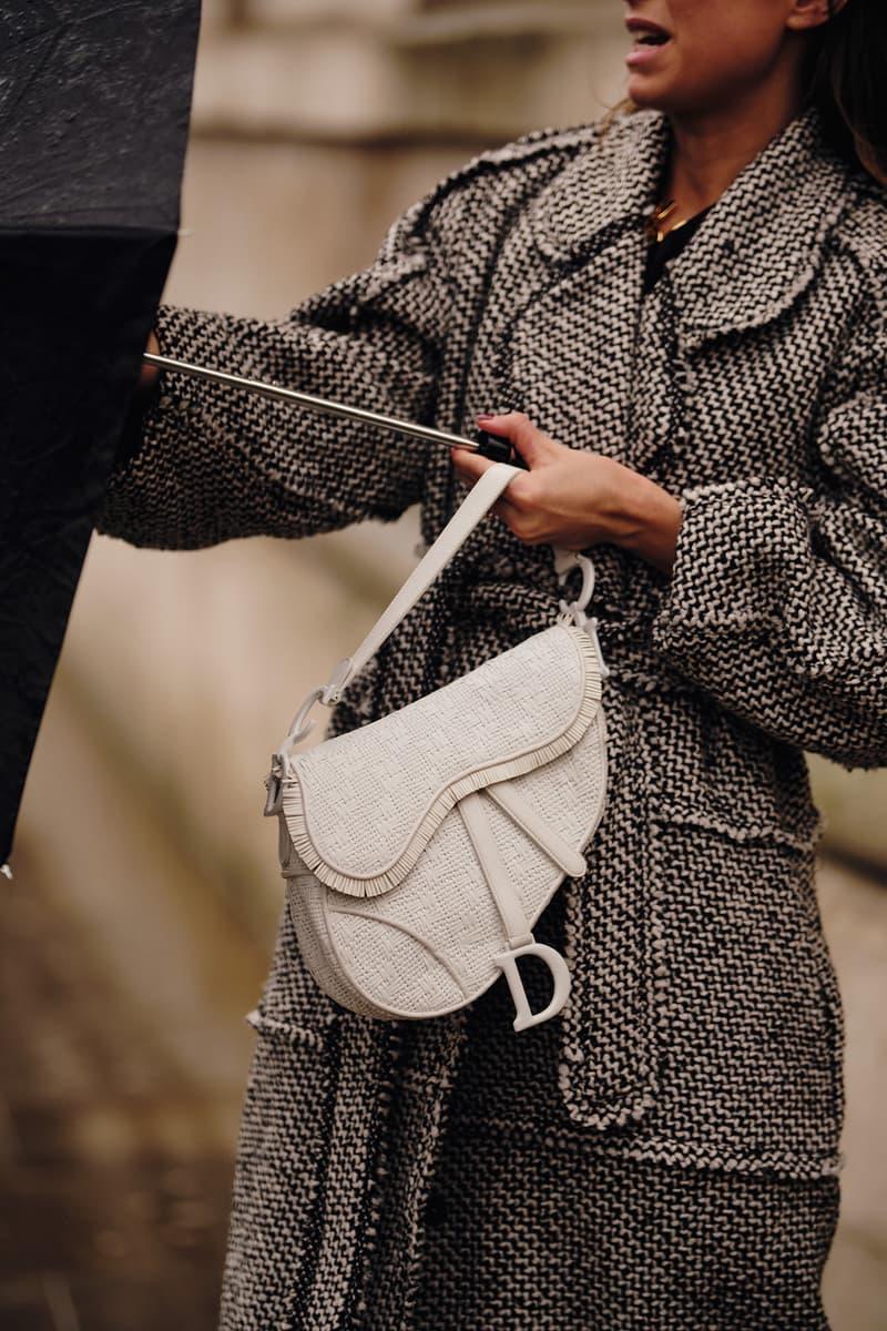 Street Style London Fashion Week Fall Winter 2020 Dior White Saddle Bag