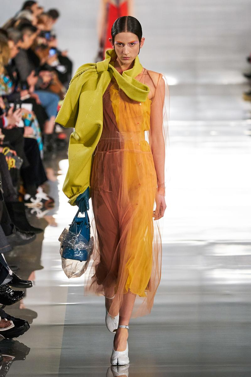 Maison Margiela Fall/Winter 2020 Collection Runway Show Sheer Dress Orange