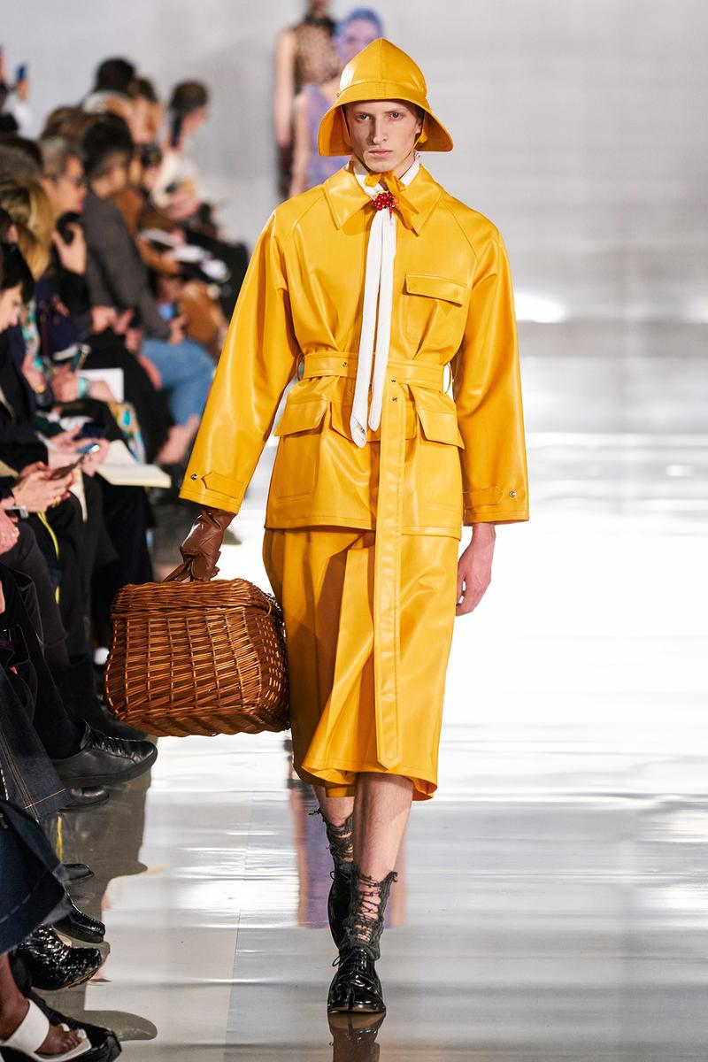 Maison Margiela Fall/Winter 2020 Collection Runway Show Jacket Skirt Yellow Leather