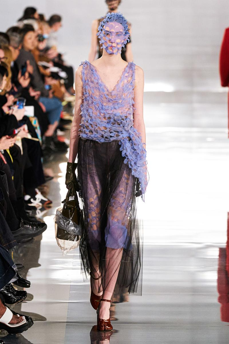 Maison Margiela Fall/Winter 2020 Collection Runway Show Sheer Dress Purple Black