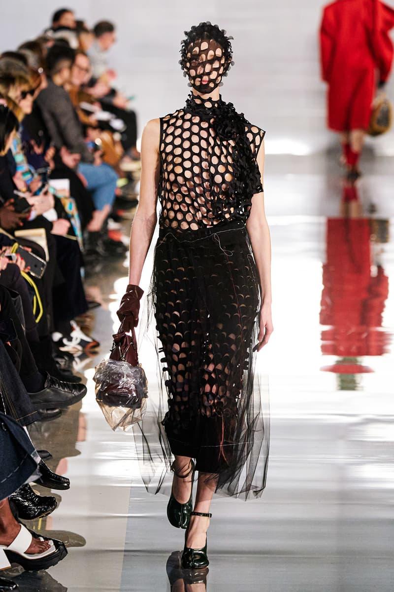 Maison Margiela Fall/Winter 2020 Collection Runway Show Sheer Mesh Dress Black