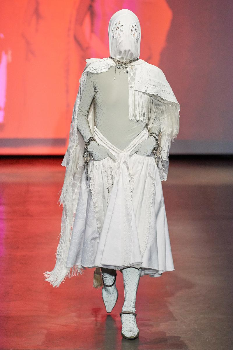 Marine Serre Fall/Winter 2020 Collection Runway Show Veil Dress White
