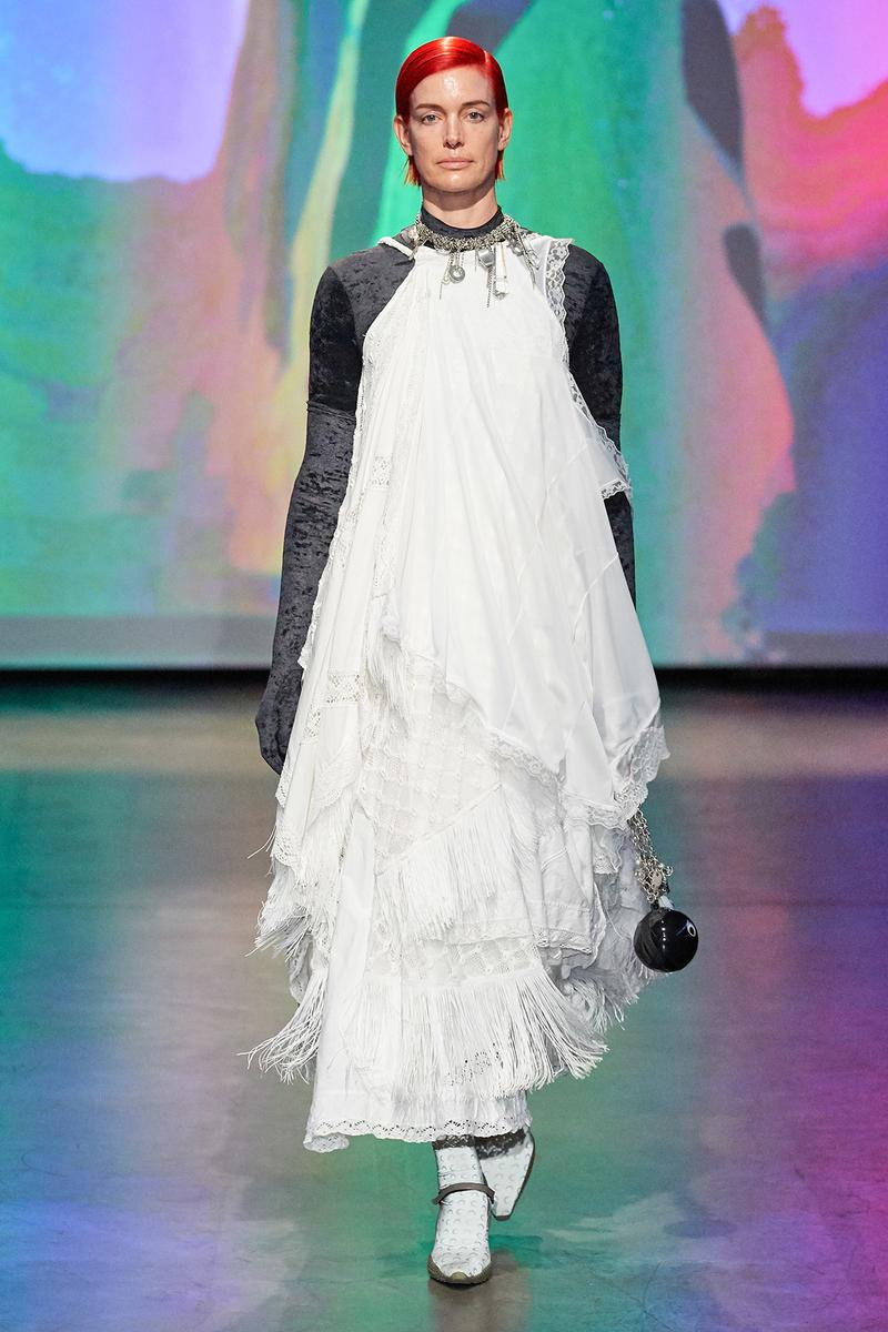Marine Serre Fall/Winter 2020 Collection Runway Show Tiered Dress White