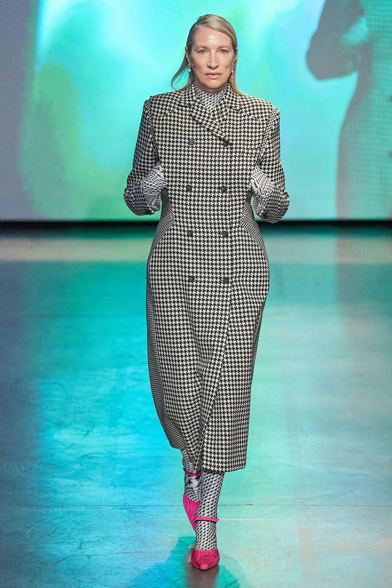 Marine Serre Fall/Winter 2020 Collection Runway Show Coat Houndstooth