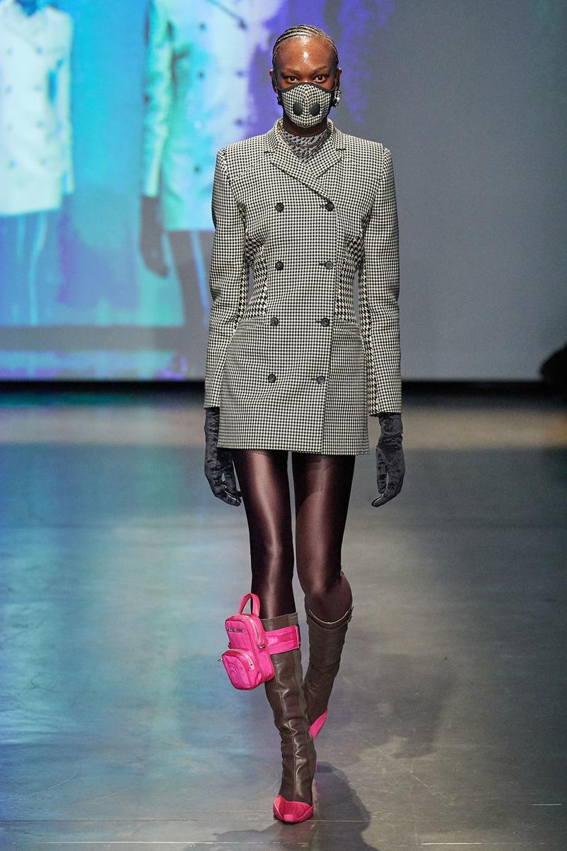 Marine Serre Fall/Winter 2020 Collection Runway Show Jacket Houndstooth Backpack Pink