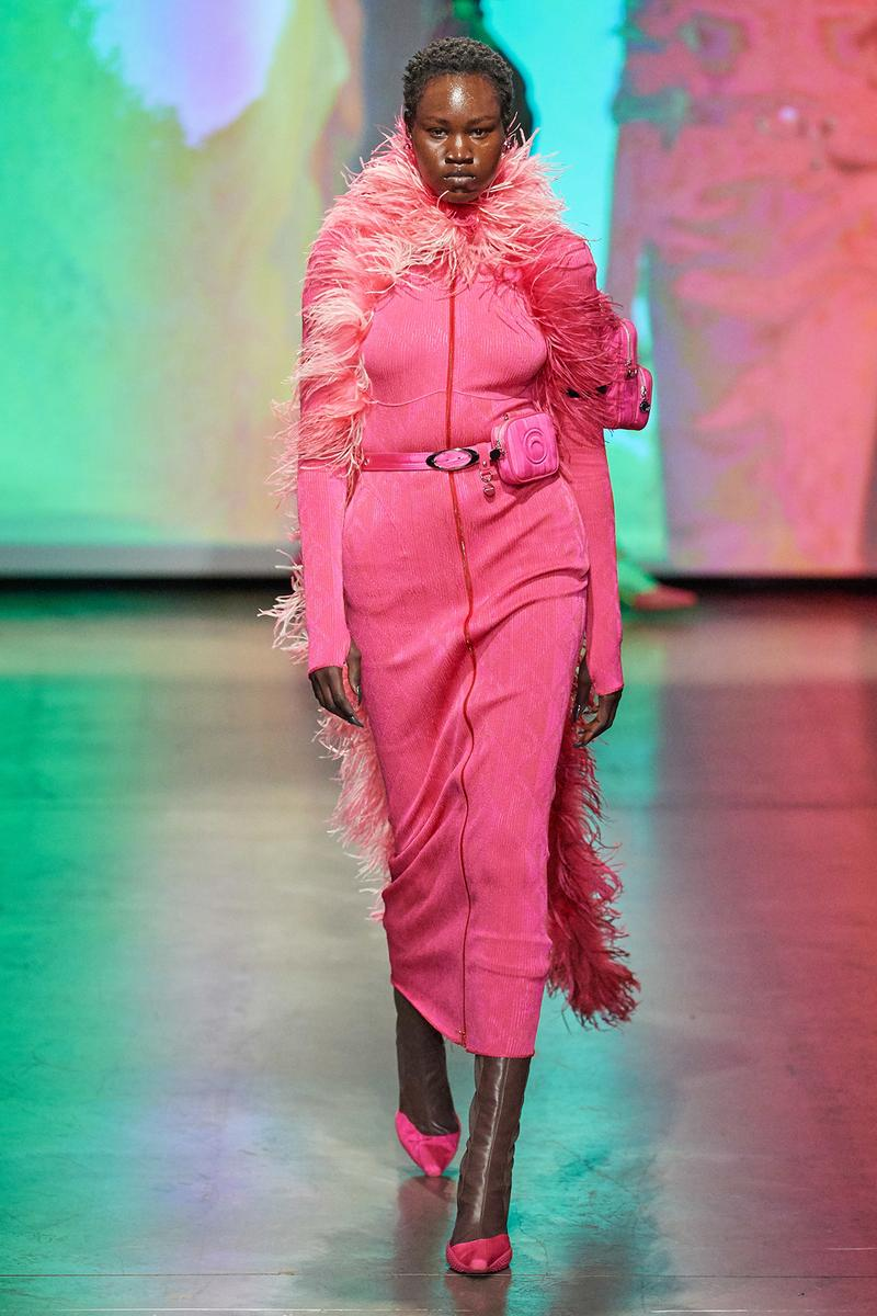 Marine Serre Fall/Winter 2020 Collection Runway Show Dress Pink Feather