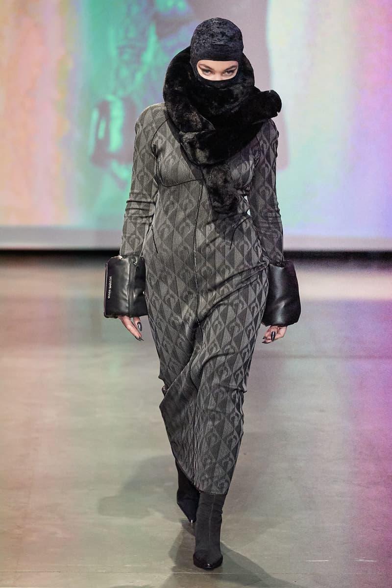 Marine Serre Fall/Winter 2020 Collection Runway Show Dress Grey Scarf Black