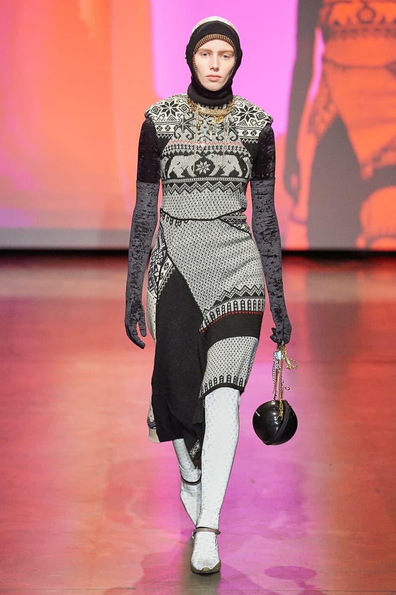 Marine Serre Fall/Winter 2020 Collection Runway Show Knit Dress Grey