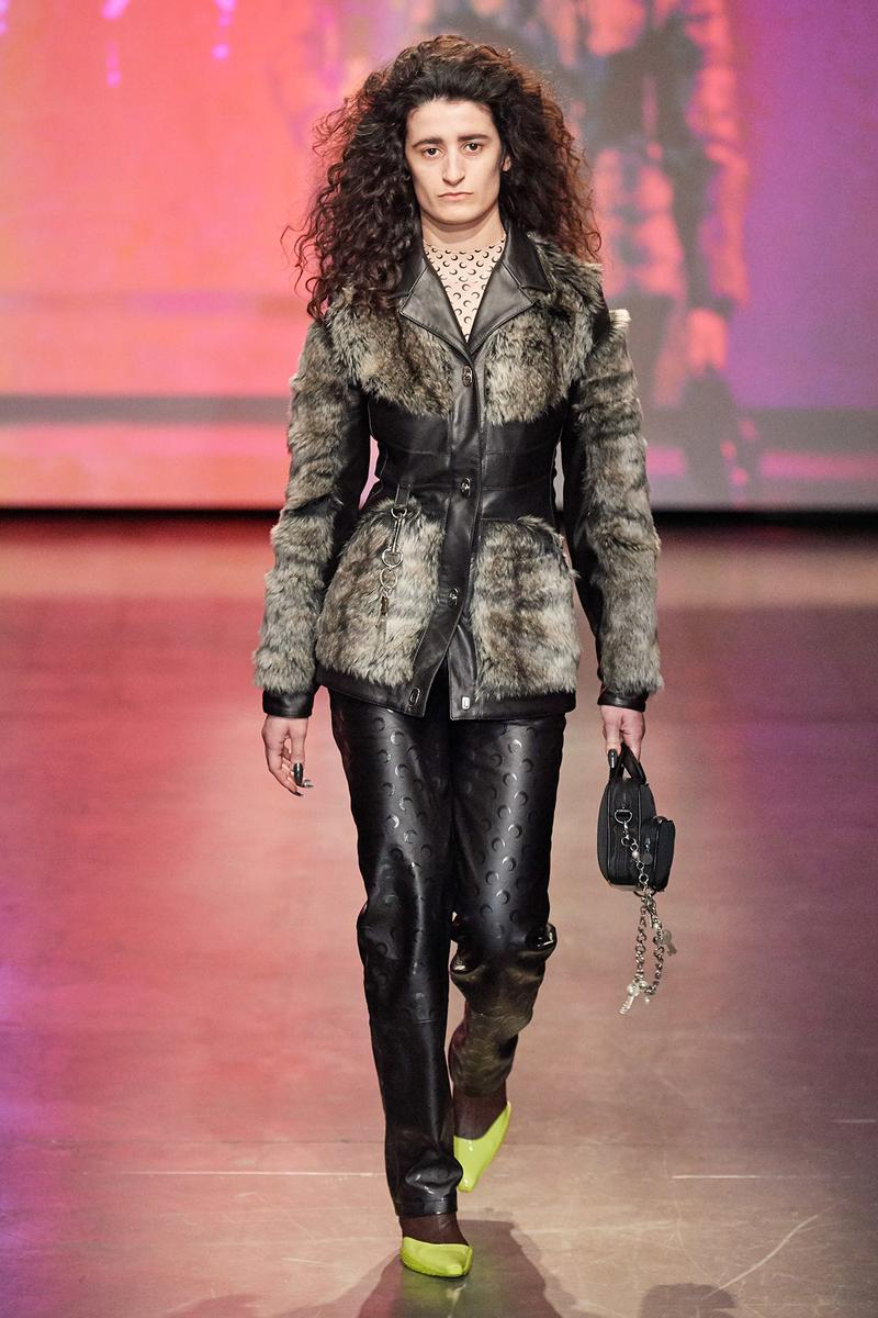 Marine Serre Fall/Winter 2020 Collection Runway Show Leather Pants Black