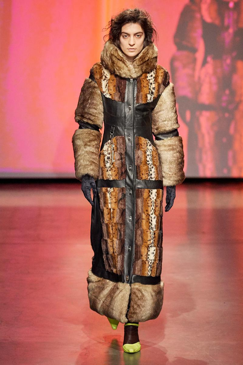 Marine Serre Fall/Winter 2020 Collection Runway Show Coat Fur Leather