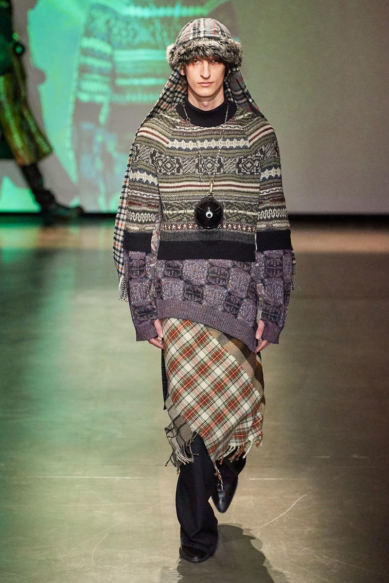 Marine Serre Fall/Winter 2020 Collection Runway Show Knit Sweater Plaid Skirt