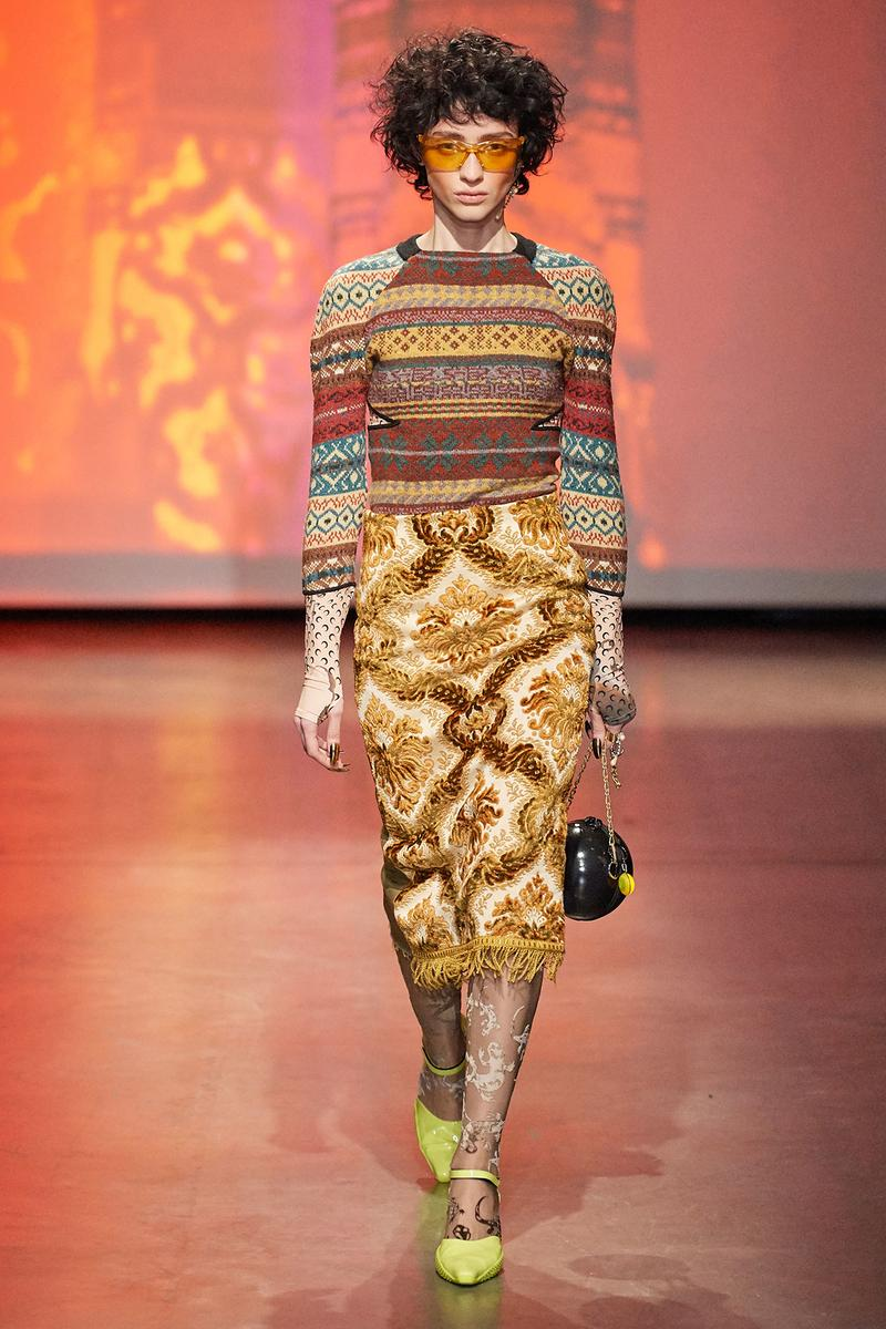 Marine Serre Fall/Winter 2020 Collection Runway Show Knit Sweater Tapestry Skirt