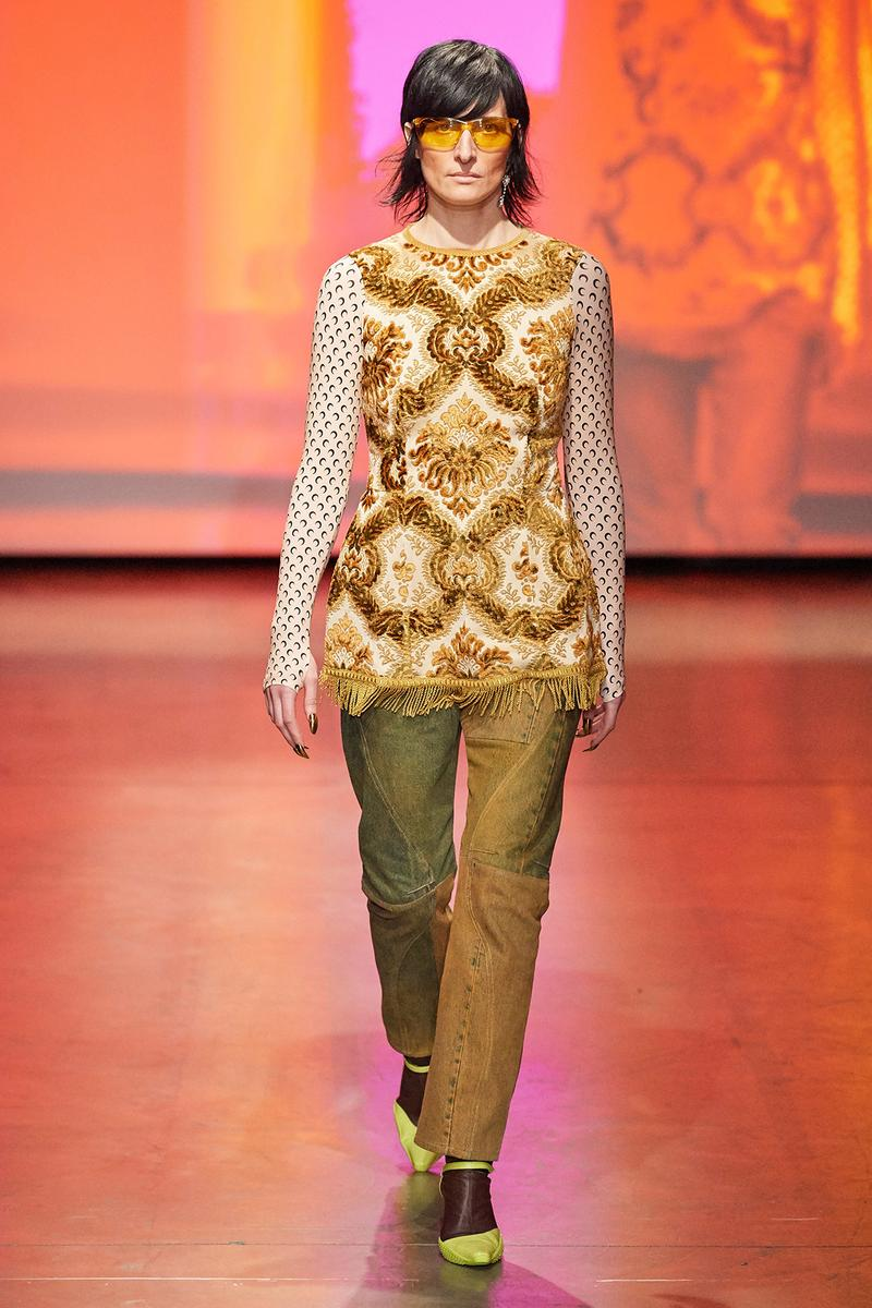 Marine Serre Fall/Winter 2020 Collection Runway Show Tapestry Top Jeans