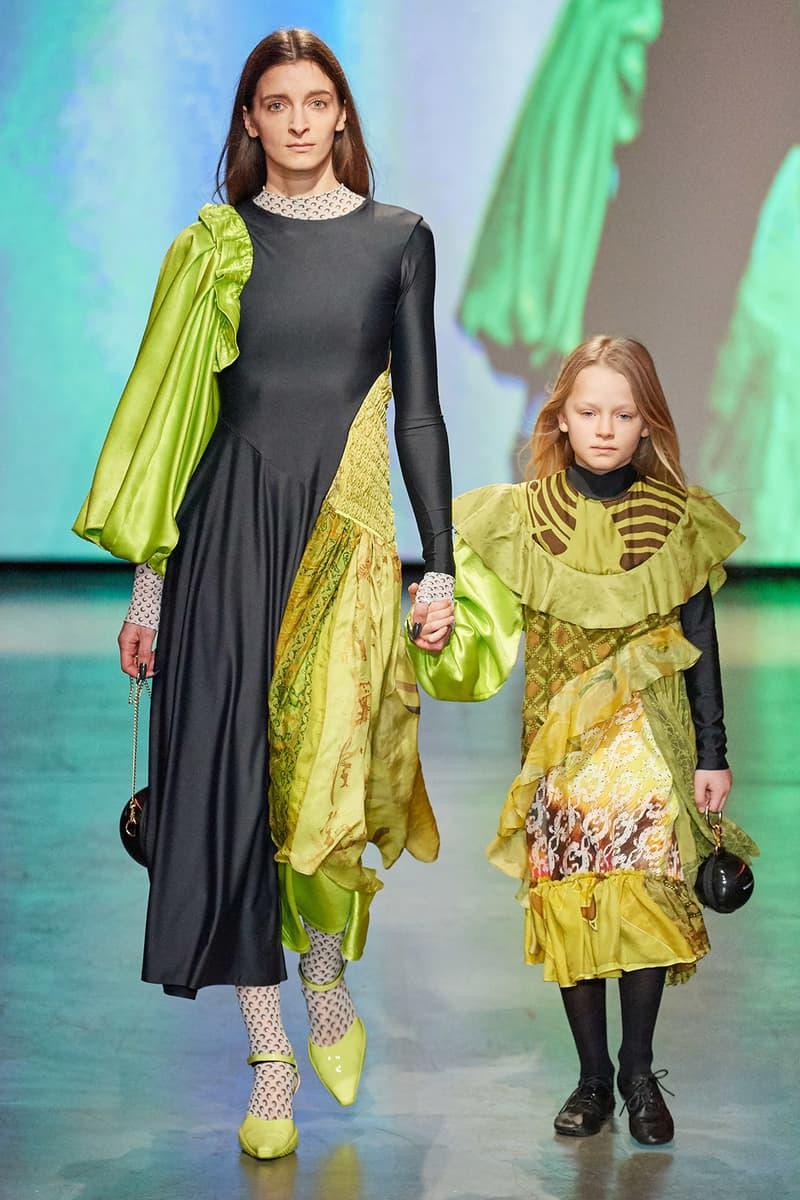 Marine Serre Fall/Winter 2020 Collection Runway Show Draped Dress Green