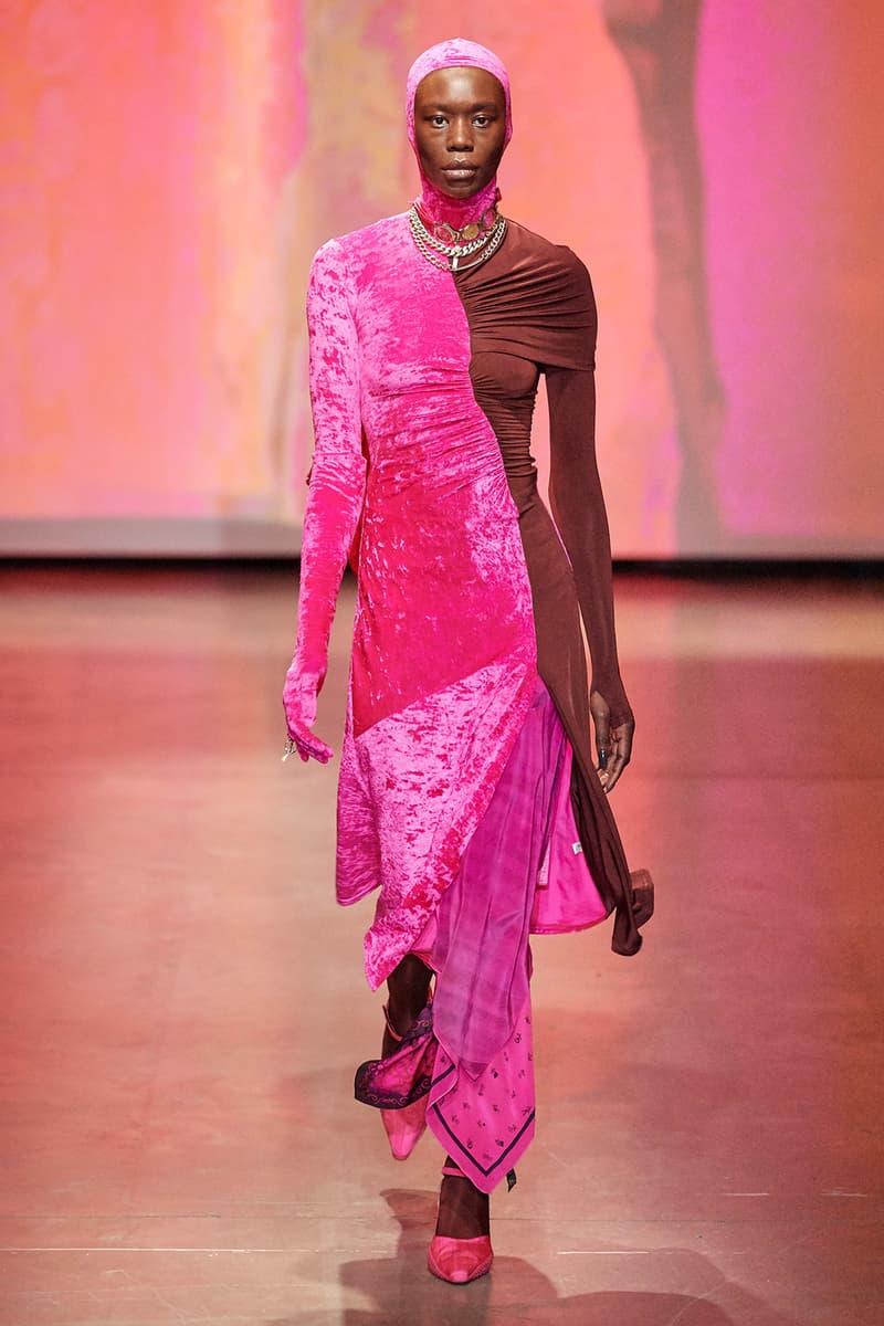 Marine Serre Fall/Winter 2020 Collection Runway Show Velvet Dress Pink