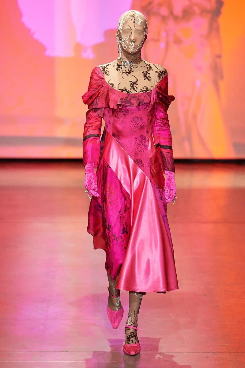 Marine Serre Fall/Winter 2020 Collection Runway Show Draped Dress Pink