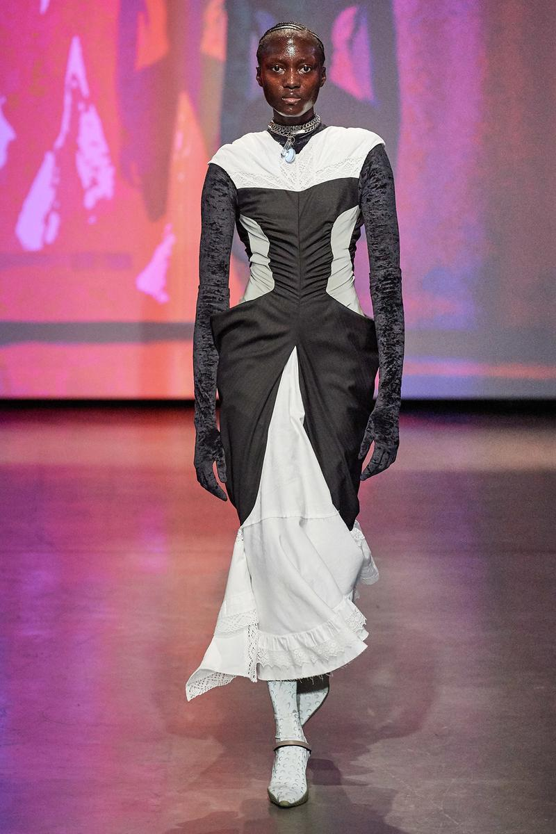 Marine Serre Fall/Winter 2020 Collection Runway Show Long Sleeve Dress Black White