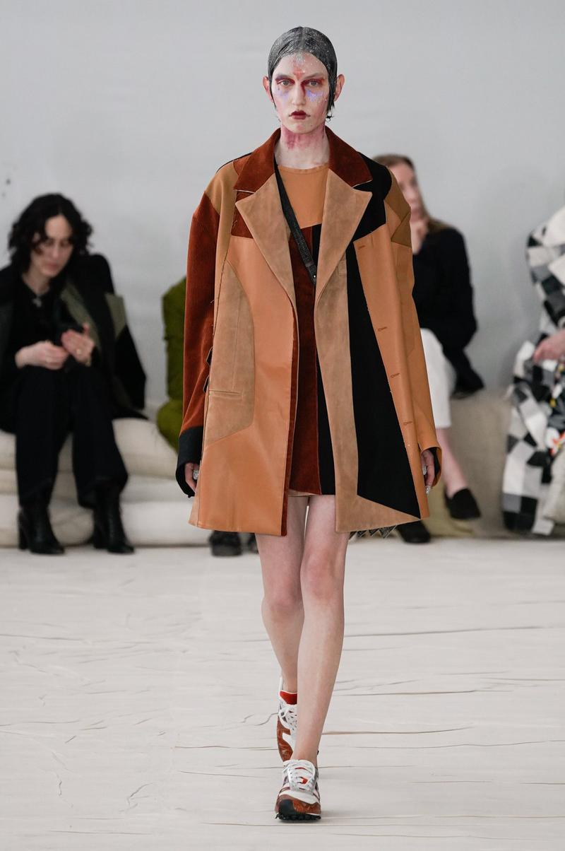 Marni Fall/Winter 2020 Collection Runway Show Patchwork Coat