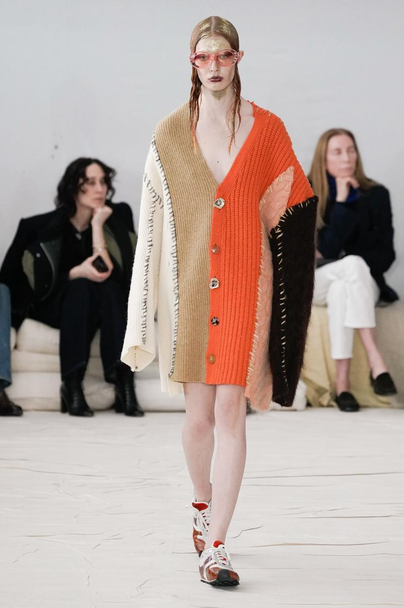Marni Fall/Winter 2020 Collection Runway Show Cardigan Orange Beige