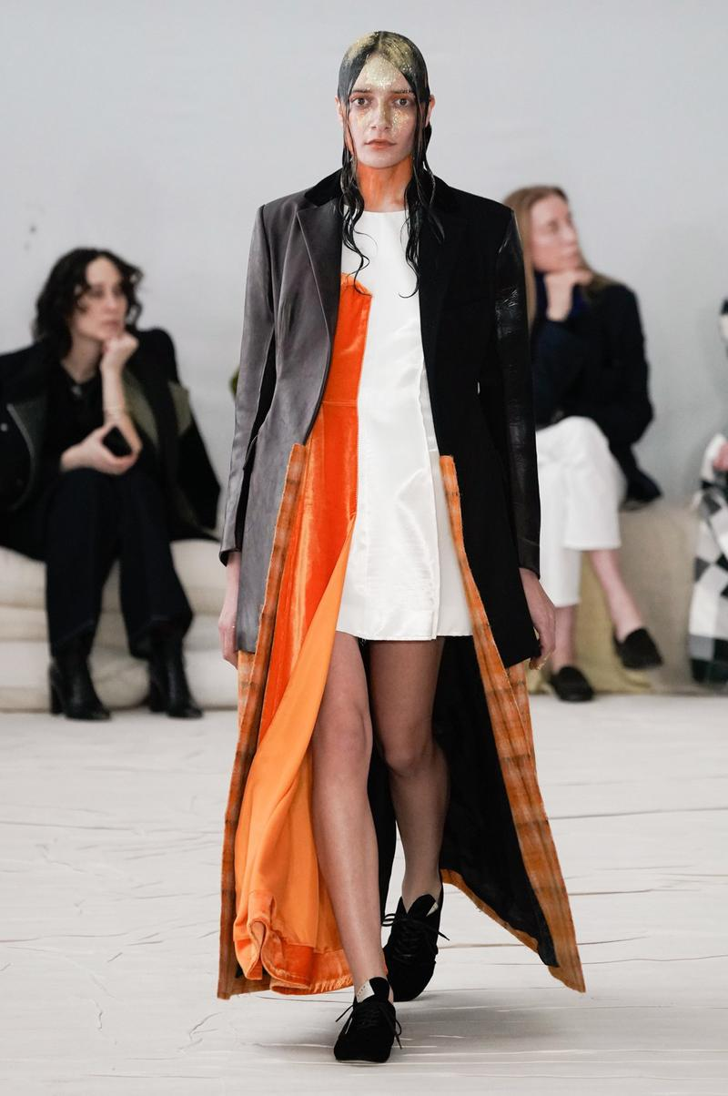 Marni Fall/Winter 2020 Collection Runway Show Coat Black Orange