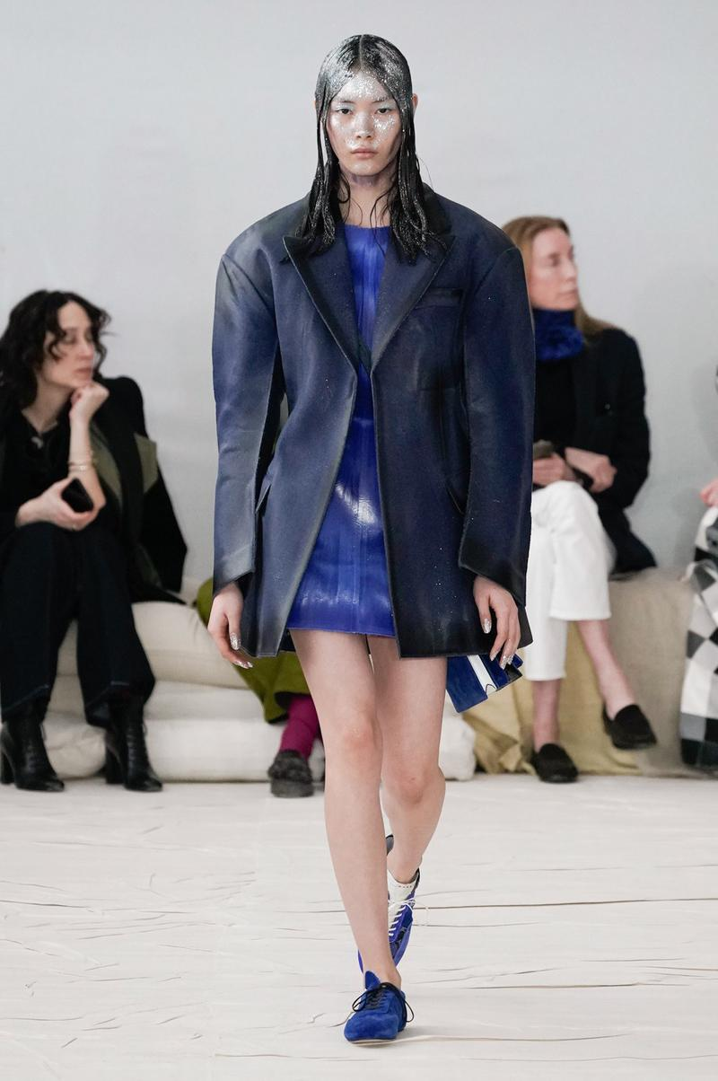 Marni Fall/Winter 2020 Collection Runway Show Coat Navy Blue