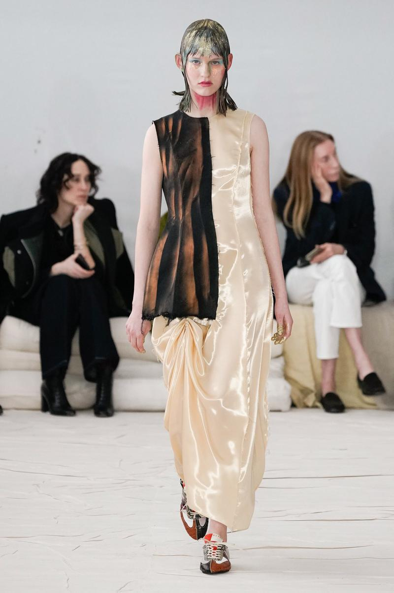 Marni Fall/Winter 2020 Collection Runway Show Dress Beige